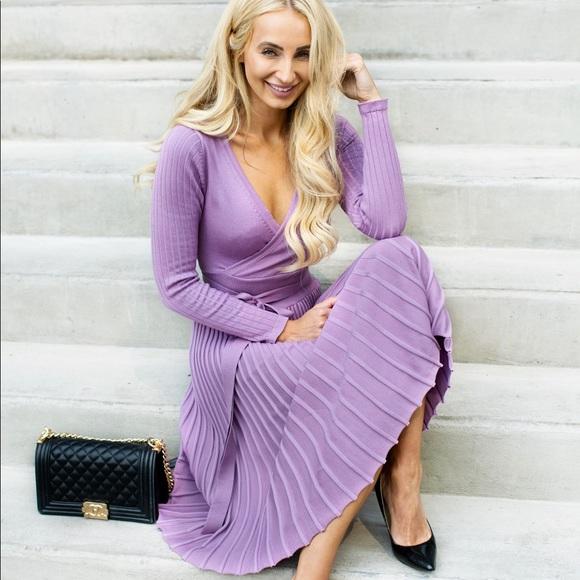 a0a9ff5ab841 Little Pearls of Life Dresses | Elegant Pleated Midi Light Purple ...